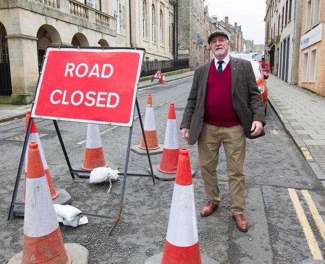 Councillor Jim Brown, at the Castlegate, Jedburgh. (Photo: BILL McBURNIE)