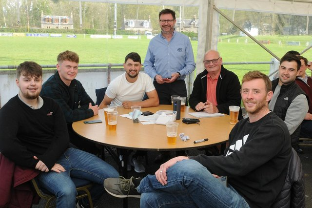 Lewis Saunders, Callum Anderson, James Bett, Jim Harold, Tom Ramage, Aaron McColm and Scott Wight at Selkirk Rugby Club's social event on Saturday (Photo: Grant Kinghorn)