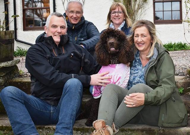 From left: Andrew McKerracher, David Lunn, Solas (wearing a Katie McKerracher Trust cycling top), Gill Lunn and Ann McKerracher. Photo: John Smail.