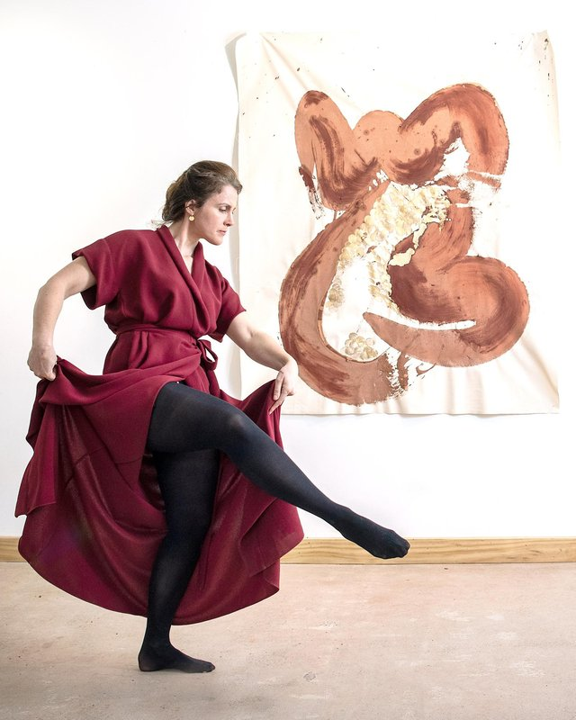 Annabel Wightman and one of her masterpieces. Photo: Jennifer Charlton.