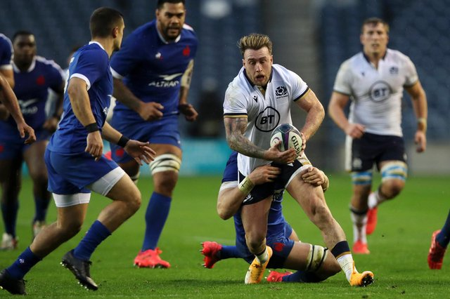 Scotland captain Stuart Hogg being tackled by Bernard Le Roux during his side's last game against France, a 22-15 Autumn Nations Cup defeat in Edinburgh, their first home loss to French since 2014.(Photo by Ian MacNicol/Getty Images)