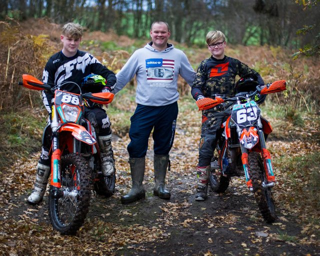 Nic Davidson with sons Callum, left, and Robbie