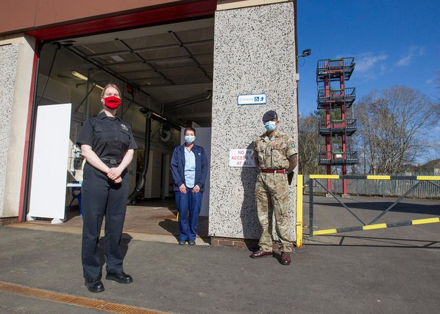 Jedburgh firefighter Kirsten Hume, Leanne Ford from the BGH Testing Unit and Private Glenn Crawford on duty at Jedburgh's Fire Station for covid testing. (Photo: BILL McBURNIE)