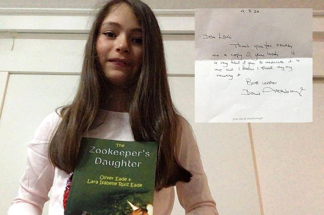 Lara and the Zookeeper's Daughter, with the letter from Sir David Attenborough.