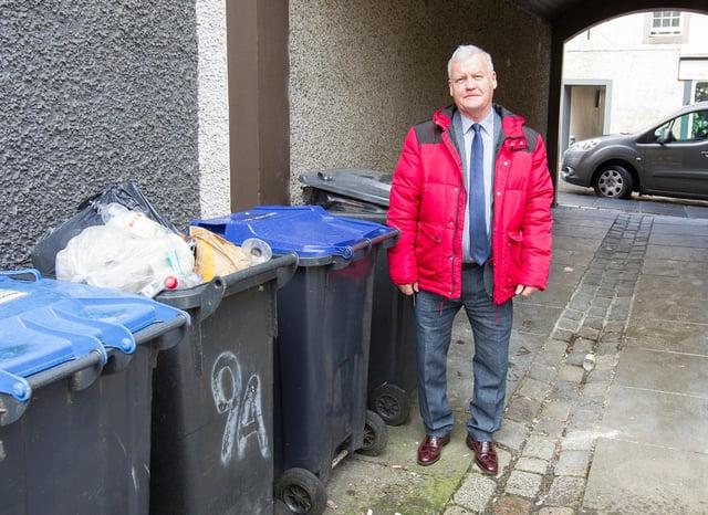 Councillor Davie Paterson at the Howegate, Hawick. (Photo: BILL McBURNIE)