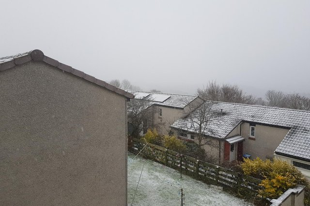 Light snow is falling in Galashiels at the moment, with more expected later.