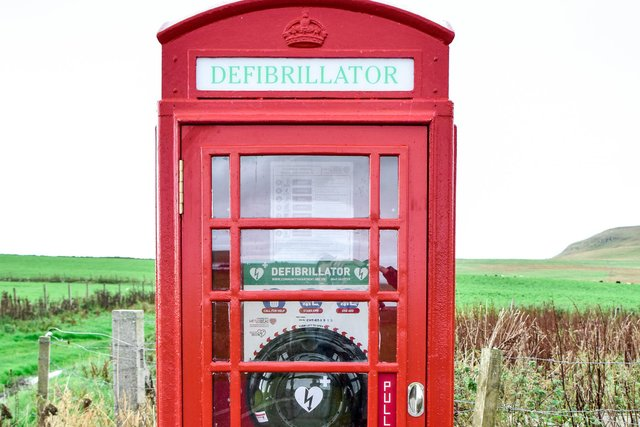 This phone box in Westray now houses a defibrillator.