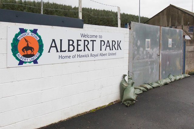 Hawick Royal Albert United's Albert Park remains closed for now, but the team are hoping to find out soon how long it will have to stay that way. Photo: Bill McBurnie