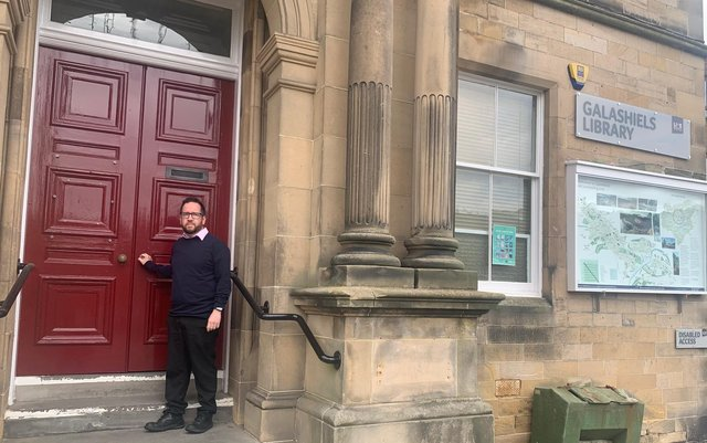 Councillor Euan Jardine outside the closed Galashiels library.