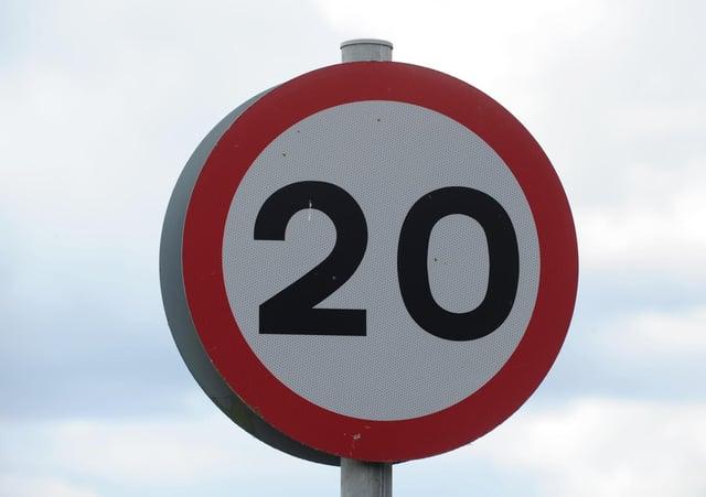 Twenty mile an hour sign.