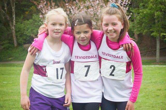 Freya Walker, Chloe Walker and Ruby Watson at Teviotdale Harriers' Hawick Burns Club races on Saturday
