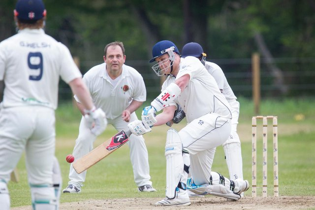 Batting is the Hawick & Wilton captain, Euan Hair (picture by Bill McBurnie)