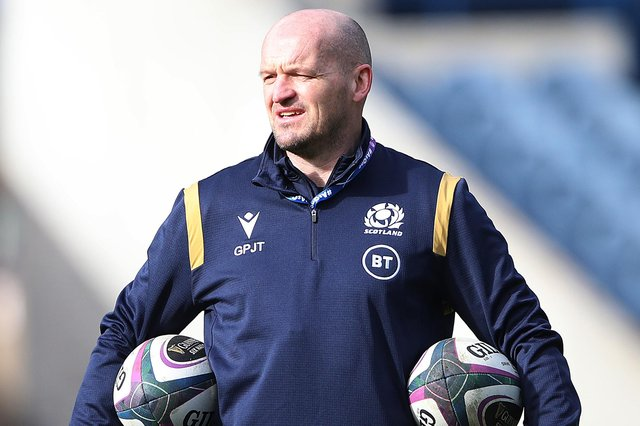 Scotland head coach Gregor Townsend during the captain's run yesterday, March 13, prior to today's Six Nations loss to Ireland at Murrayfield Stadium in Edinburgh (Photo by Ian MacNicol/Getty Images)