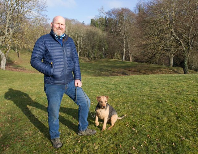Former Jedburgh Community Councillor, Charlie Young at the proposed site for a Hybrid Pumptrack and Skatepark at the Dip, Jedburgh. (Photo: BILL McBURNIE)