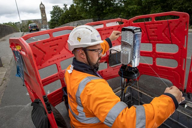 An Openreach engineer at work in Peebles.