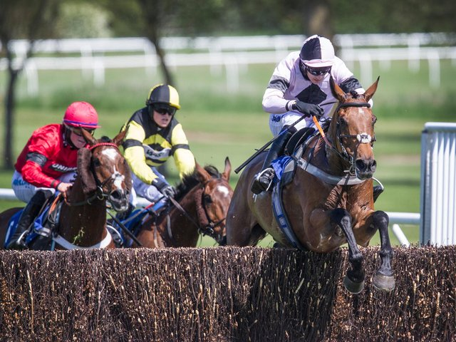 Victory in the Warm Welcome Handicap, for the Wilfred and Patricia Crawford Memorial Trophy, went to Do Not Disturb, with jockey Craig Nicholl of Hawick (picture by Bill McBurnie)