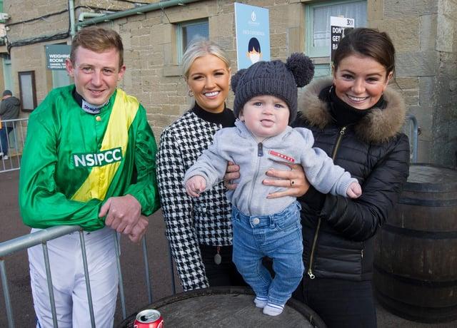 Jockey Connor O'Farrell with Heather MacLeod, Arthur Brooke and Alice White. (Photo: BILL McBURNIE)