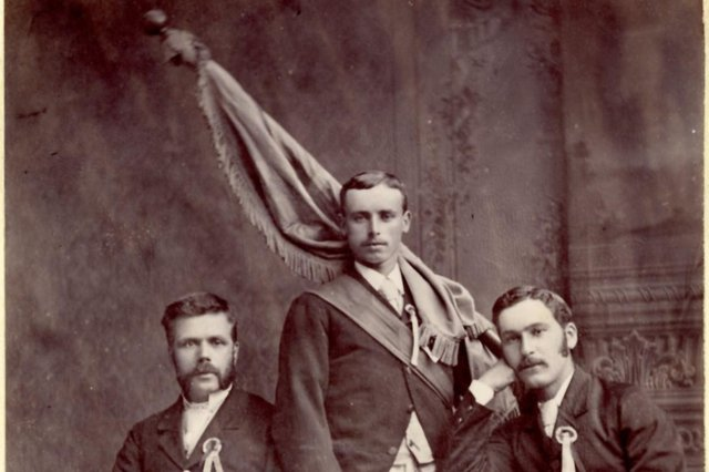 Picture of the 1881 Cornet John Smith with right-hand man Robert Amos and left-hand man George Cavers, taken in the studio of John Y Hunter,