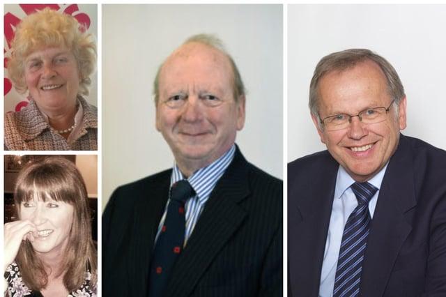Clockwise from top left: Eleanor Moffatt BEM, Sandy Davison MBE, George Young MBE and Pauline Elliot BEM.