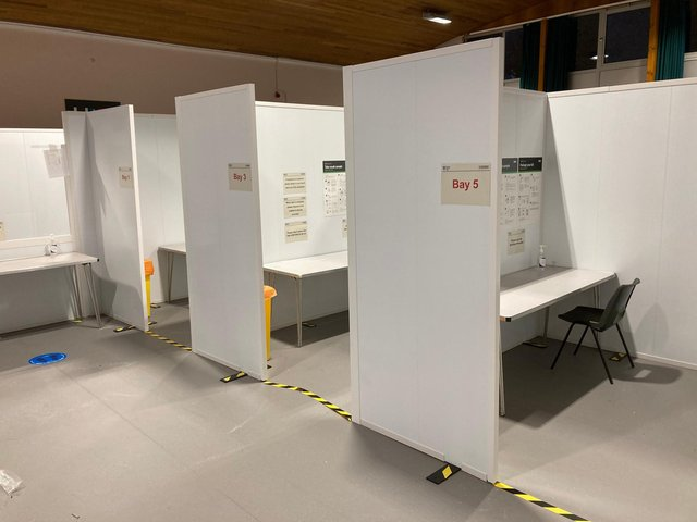 The Langlee Community Centre's main hall has been turned into several different bays for Covid testing.