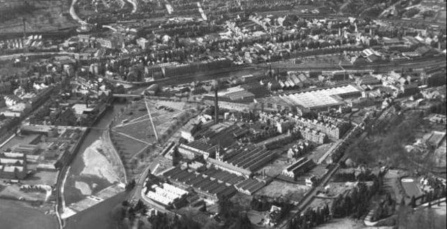 Aerial shot of Hawick in April 1966.