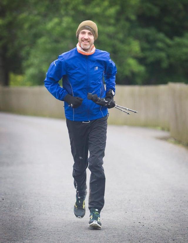 Ryan Small on his 24 running challenge at Galashiels for Poppscotland. (Photo: BILL McBURNIE)