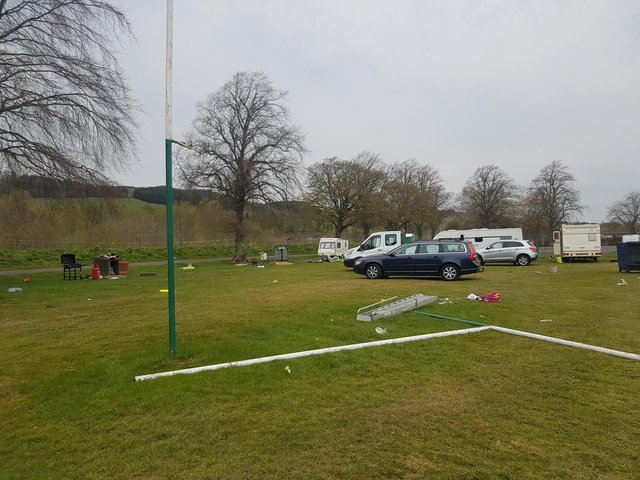The goalposts at Selkirk Youth Club's rugby ground have been pulled down.