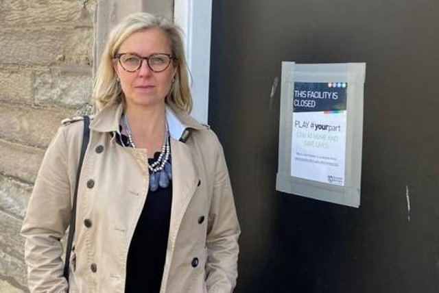 Rachael Hamilton MSP at the toilets in Greenlaw.
