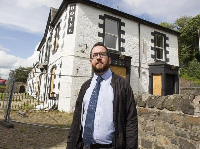 Councillor Euan Jardine outside the old Abbotsford Hotel.