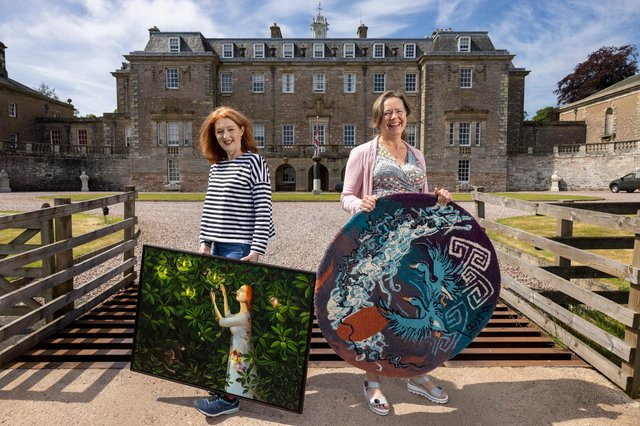 Helen Flockhart, left, and Laura Derby, artists with Wasps Studios, visit Marchmont House ahead of their funded summer residencies. Photo: Martin Shields.