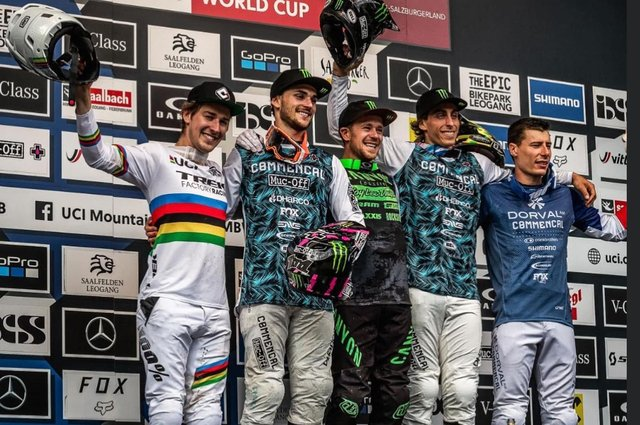 Reece Wilson, left, with his fellow World Cup entrants in Austria.