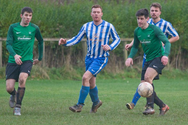 A glimpse of action between Greenlaw and stripe-shirted Jedburgh Legion in late 2018.