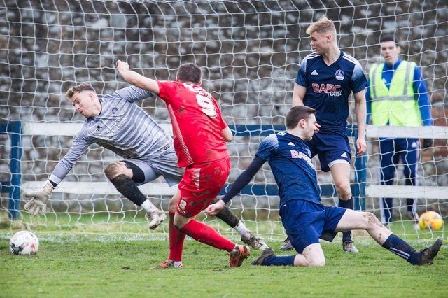 Vale of Leithen, in blue, in action against Cumbernauld Colts at Victoria Park last November (archive picture by Bill McBurnie)