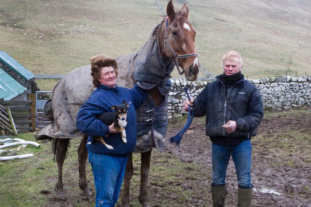 Yetholm trainer Sandy Forster with Clive Storey, right, and Claud And Goldie, the 12- year- old chestnut gelding who very sadly died after finishing ninth in Saturday's Coral Scottish Grand National at Ayr (picture by Bill McBurnie).