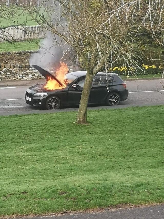 The car on fire in Earlston. Photo: Martin Millar.