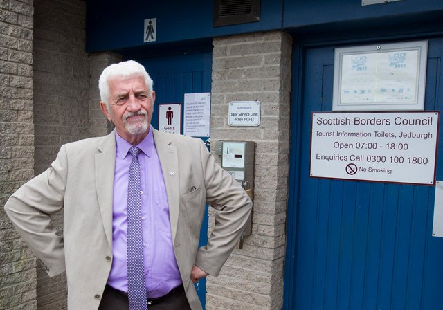 Councillor Jim Brown, at the public toilets next to Jedburgh's tourist information office. Photo: Bill McBurnie