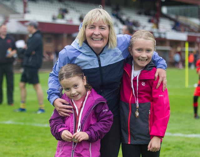 Lisa Jeffcoate with Abbie and Lucy after the fun run. (Photo: BILL McBURNIE)