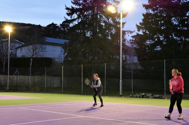 Innerleithen Tennis Club members taking advantage of new floodlights fitted there