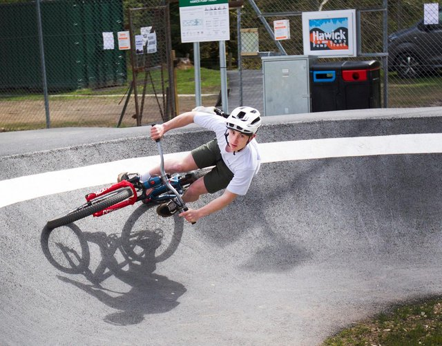 William Brodie shows off his skills at the new Hawick pump track (picture by Bill McBurnie)