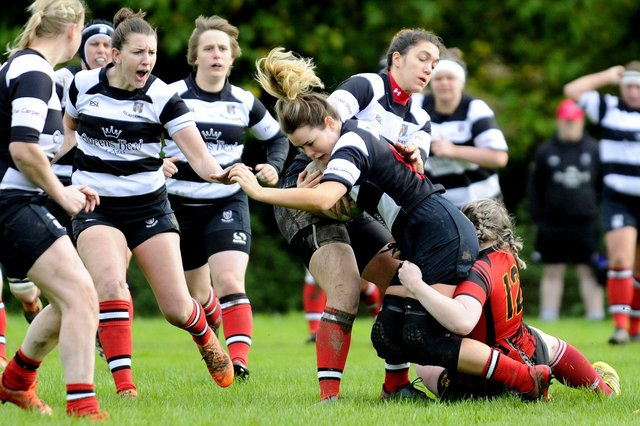 Kelso Women, in hoops, seen here in 2019 against Grangemouth Stagettes, will have their first XV playing in National League 1 (picture by Alan Murray)