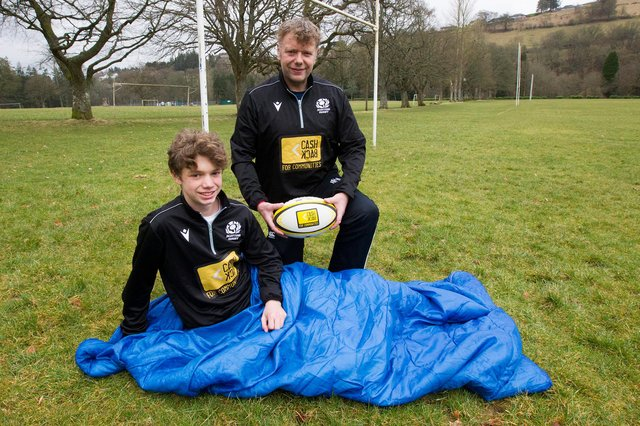 David and Craig Oliver get in practice for tonight's charity sleepout by young rugby players in Hawick (Photo: Bill McBurnie)