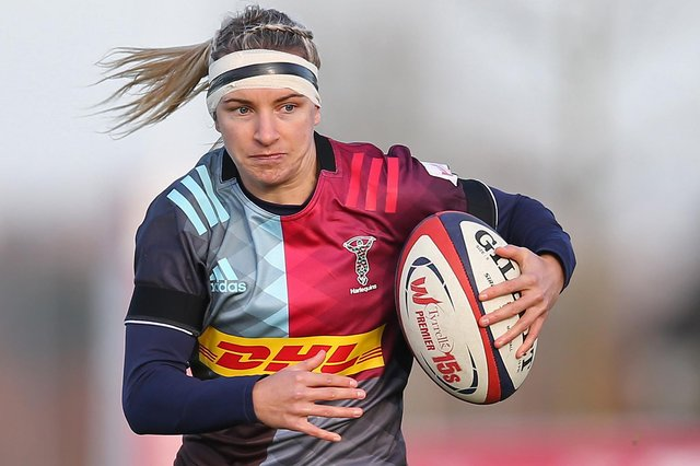 Chloe Rollie on the ball for Surrey's Harlequins Women in November 2019 (Photo by Steve Bardens/Getty Images for Harlequins)