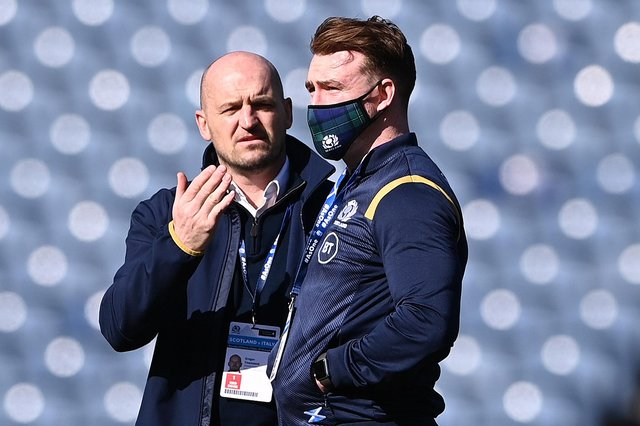 Gregor Townsend talking to Stuart Hogg ahead of the Guinness Six Nations match between Scotland and Italy at Murrayfield in Edinburgh on March 20, 2021 (Photo by Stu Forster/Getty Images)
