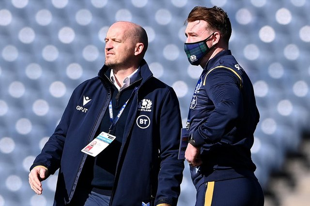 Scotland head coach Gregor Townsend has welcomed the news that he'll be able to play English-based players such as Stuart Hogg, his captain, against France on Friday. The pair are pictured here on the pitch prior to the Scots' Six Nations victory against Italy at Murrayfield Stadium in Edinburgh yesterday (Photo by Stu Forster/Getty Images)