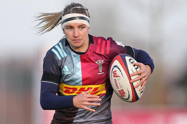 Jedburgh's Chloe Rollie playing for London's Harlequins Women in November 2019 (Photo by Steve Bardens/Getty Images for Harlequins)