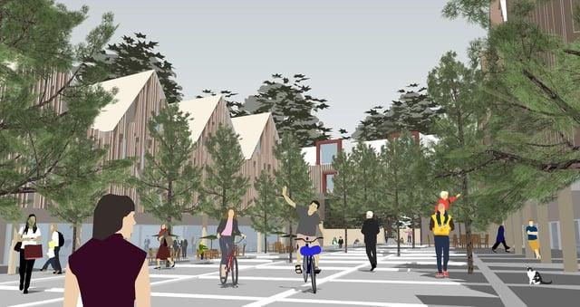 An artist's interpretation for Station Square, part of the Tweedbank masterplan.