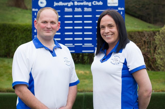 President David Lighbody and his wife Laura at Jedburgh Bowling Club (Photo: Bill McBurnie)