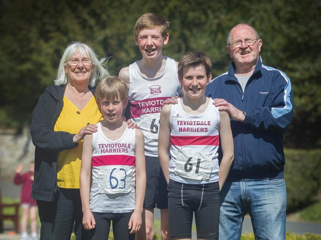 Proud grandparents Joyce and Rob Welsh with runners, Irvine, Robbie and McLaren, enjoy a grand family day out (pictures by Bill McBurnie)