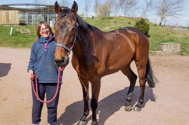 Camptown racehorse trainer Harriet Graham with Aye Right (Photo: Bill McBurnie)