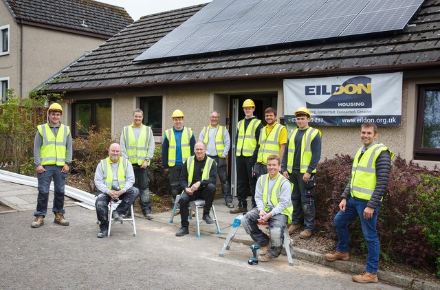 Borders College students with the Eildon Housing Group's HIT Squad.